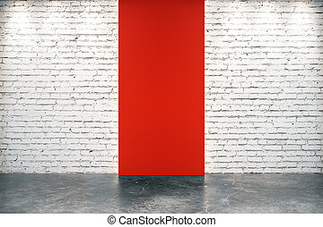 Blank red canvas in the center of white brick wall with concrete floor