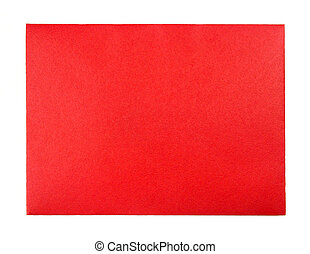 Blank red greeting card envelope isolated on white
