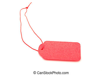 Blank red gift tag tied with string