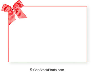 Blank red gift tag with a bow