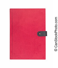 Blank red hardcover notebook isolated