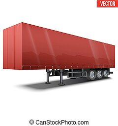 Blank red parked semi trailer
