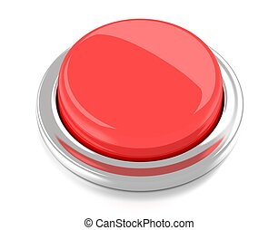 Blank red push button. 3d illustration. Isolated background.