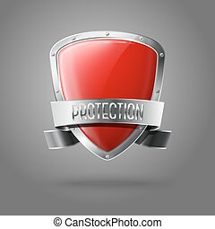 Blank red realistic glossy protection shield with silver ribbon and border isolated on grey background with place for your design and branding. Vector illustration