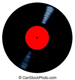 Blank Red Record Label - A typical LP vinyl record all over...