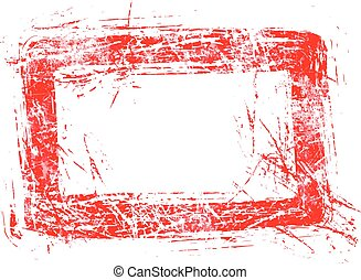 blank red rectangular grunge rubber stamp vector illustration, isolated on white background