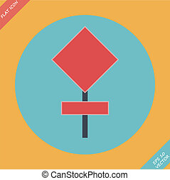 Blank red road sign - vector illustration.