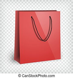 Blank red shopping bag mockup
