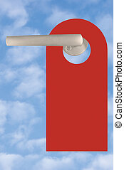 Blank Red Tag On Door Handle Over Sky