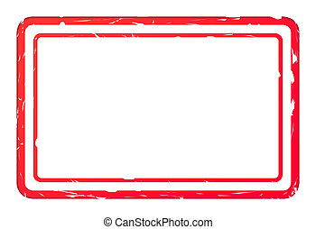 Blank red used business stamp isolated on white background...