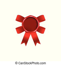 Blank red wax seal with red ribbon bow behind it - isolated vector illustration