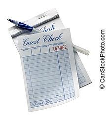 Blank restaurant check