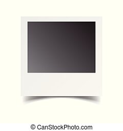 Blank retro photo frame on white isolated background. Vector illustration.