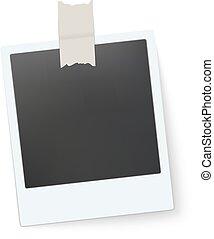 Blank retro photo frame. Vector illustration
