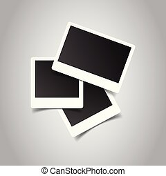 Blank retro photo frames on grey background. Vector illustration.