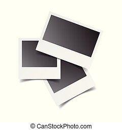 Blank retro photo frames on white isolated background. Vector illustration.