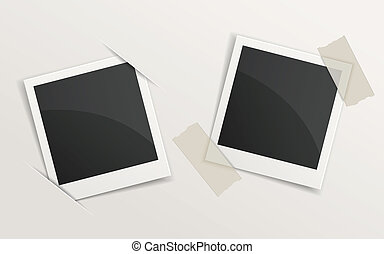 blank retro photo frames