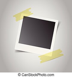 Blank retro photo frames with sticker on grey background. Vector illustration.