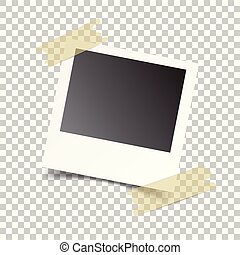 Blank retro photo frames with sticker on white isolated background. Vector illustration.