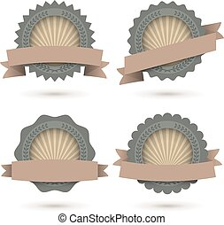 Blank retro shaded labels vector set with white background.