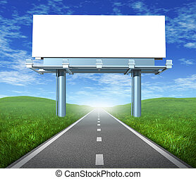 Blank highway billboard sign in an outdoor display showing a road representing the concept of focused advertising and marketing communications to clients and consumers to promote and sell a brand.
