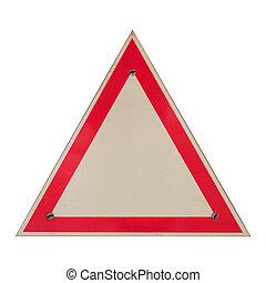 Blank road danger sign