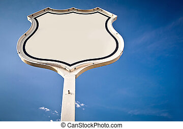 Blank road sign Interstate.