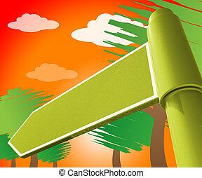 Blank Road Sign Representing Copyspace Note 3d Illustration