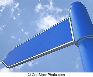 Blank Road Sign Shows Copy space For Message