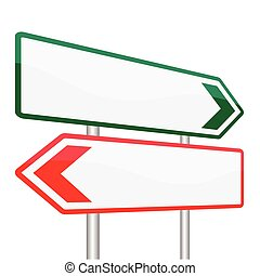 Blank Road Signs Board on Blue Background-Vector Illustration