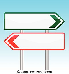 Blank Road Signs Board on white Background-Vector Illustration
