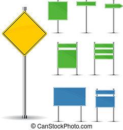Blank road signs board and arrow vector