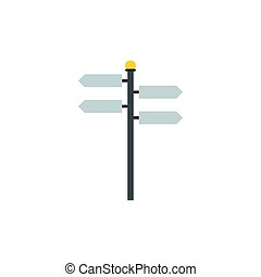Blank road signs icon, flat style