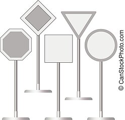 Blank road signs mockups, realistic style