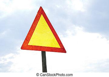 Blank road warning sign