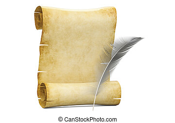 Blank roll of papyrus with feather, 3D rendering