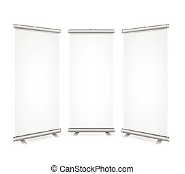 Blank Roll Up Banner 3 Display View Template. Vector