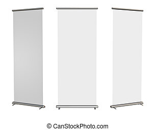 Blank roll-up banner display, clipping path included - Blank...