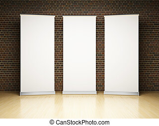 Blank roll up banner in studio - Blank roll up banner in...