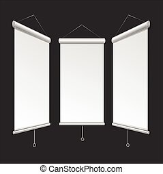 Blank Roll Up Banner Template. Vector