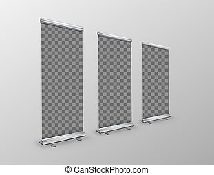 Blank roll-up banners with transparent place for advertise posters
