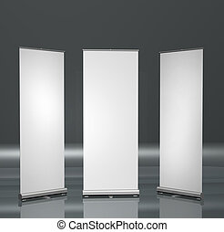Blank roll-up posters - Three blank roll-up posters ...