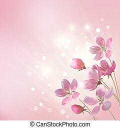 blank, rosa blüten, hintergrund