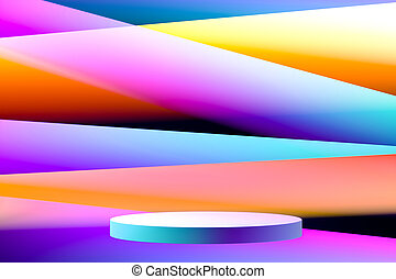 Blank Round Showcase with Empty Space On Pedestal on Multicolored Gradient Background. 3d rendering. Art Exhibition