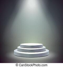 blank round stage isolated over dark background