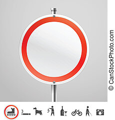 Blank round urban sign with collection of silhouettes.