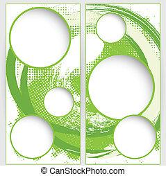 blank round web template on green grunge background