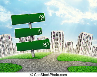 Blank route pointer out of upright, by footpath crossroad, three green boards point right, left and strait ahead, against line of high-rise buildings of same design. Curved Earth