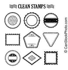 Blank rubber stamp set vector