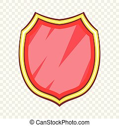 Blank safety protection shield icon, cartoon style